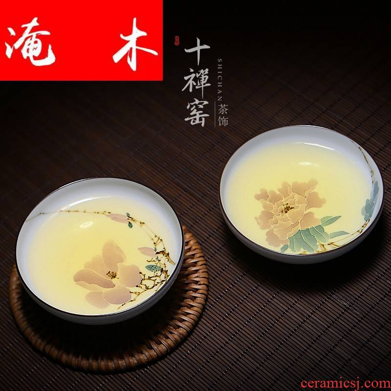 Submerged wood jingdezhen checking sample tea cup pastel flowers ceramic cups masters cup kung fu tea set