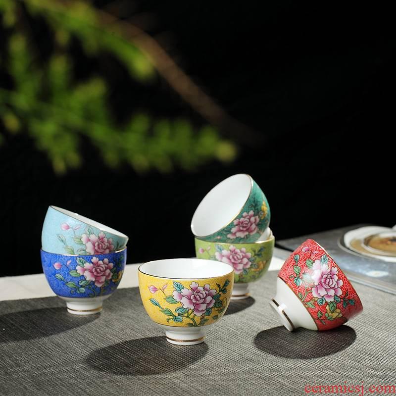 Jingdezhen ceramic tea set pastel manual pick flowers craft glass ceramic cups sample tea cup 6 suits for move