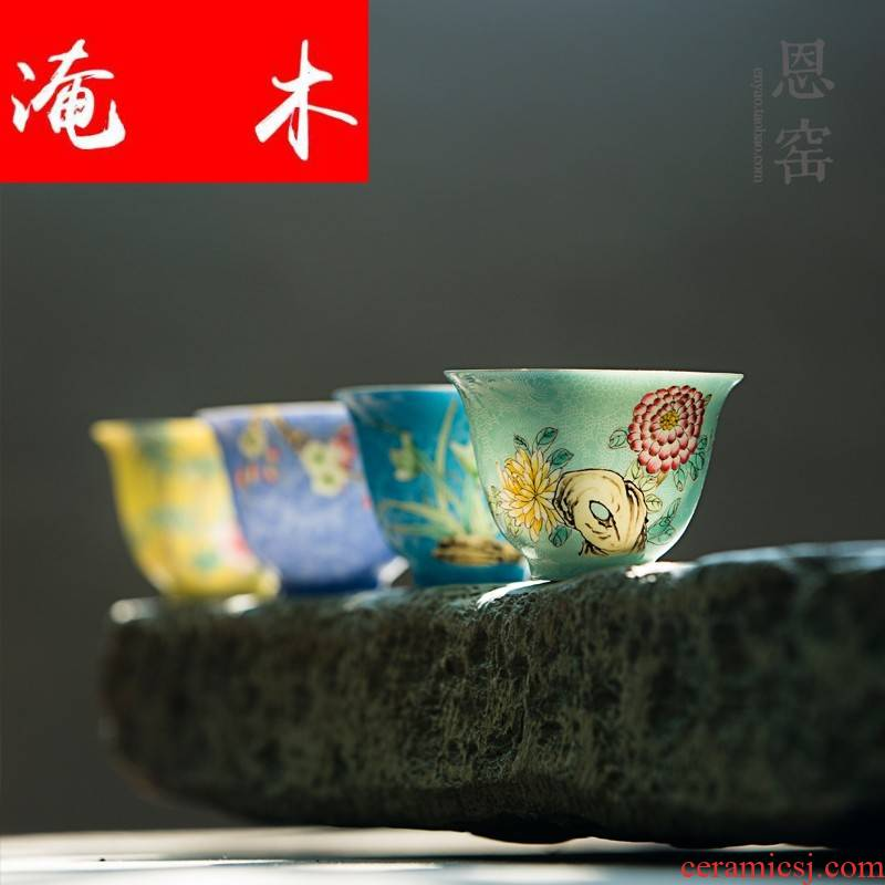 Submerged wood grilled jingdezhen pastel flowers sample tea cup up with pure manual hand - made ceramic tea bowl kung fu tea set