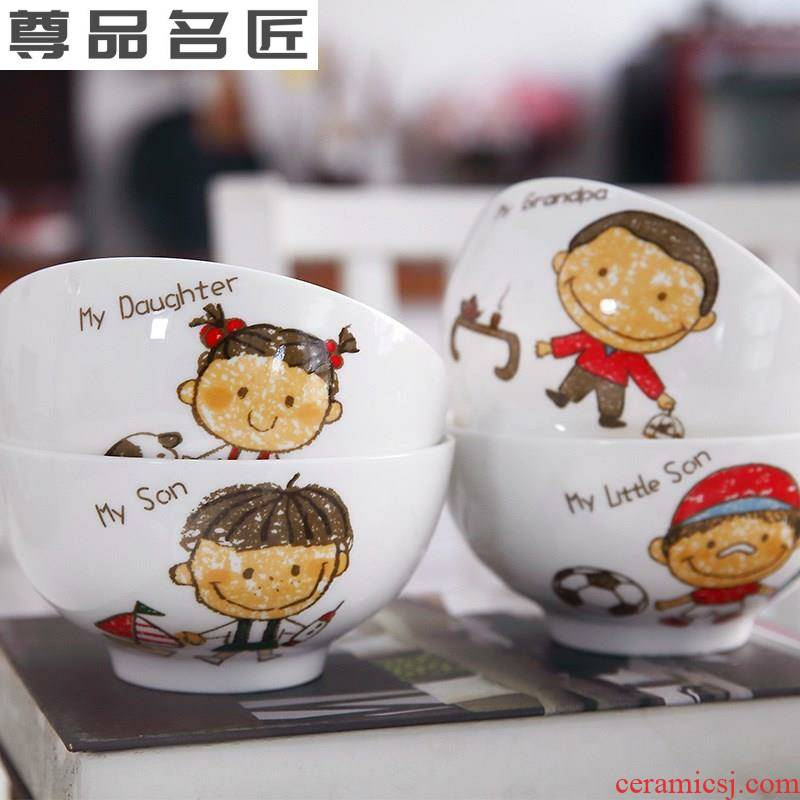 The fictional cartoon ceramic bowl chopsticks points of personnel dedicated parents household utensils mom and dad to distinguish rice bowls