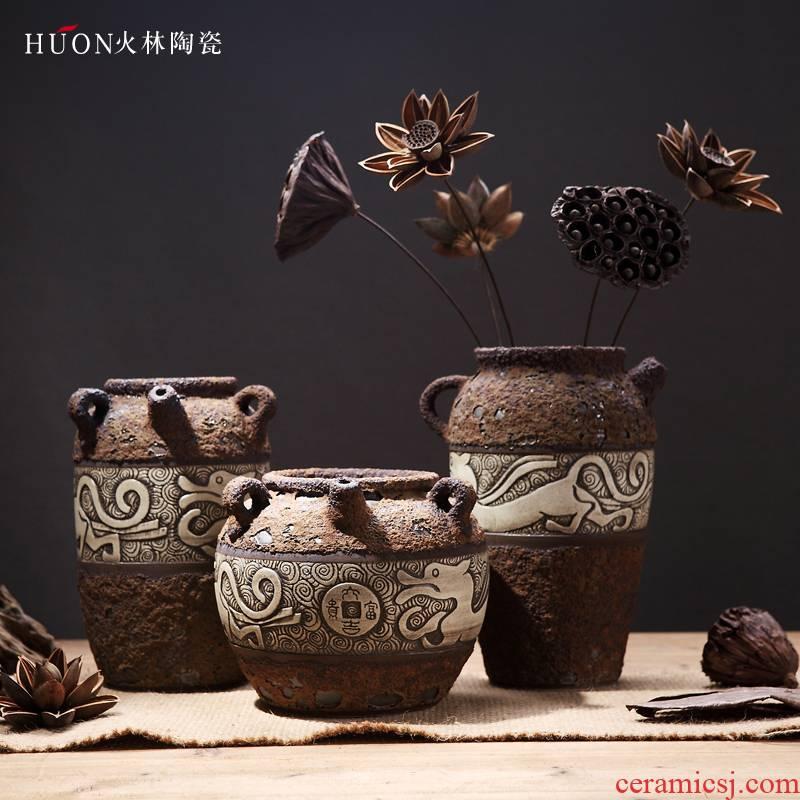 Carved retro vase earthenware jar flower POTS dry flower arranging flowers, auspicious beast zen ceramic flower implement coarse pottery of primitive simplicity furnishing articles