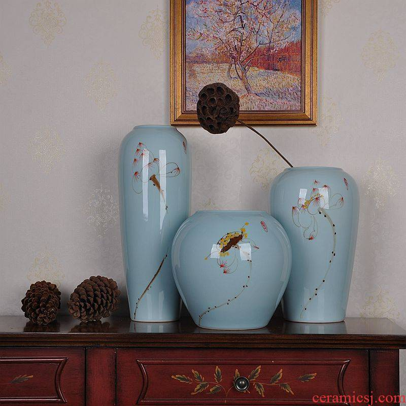 Jingdezhen ceramic vase hand - made lotus three - piece suit modern household of Chinese style living room crafts vase furnishing articles
