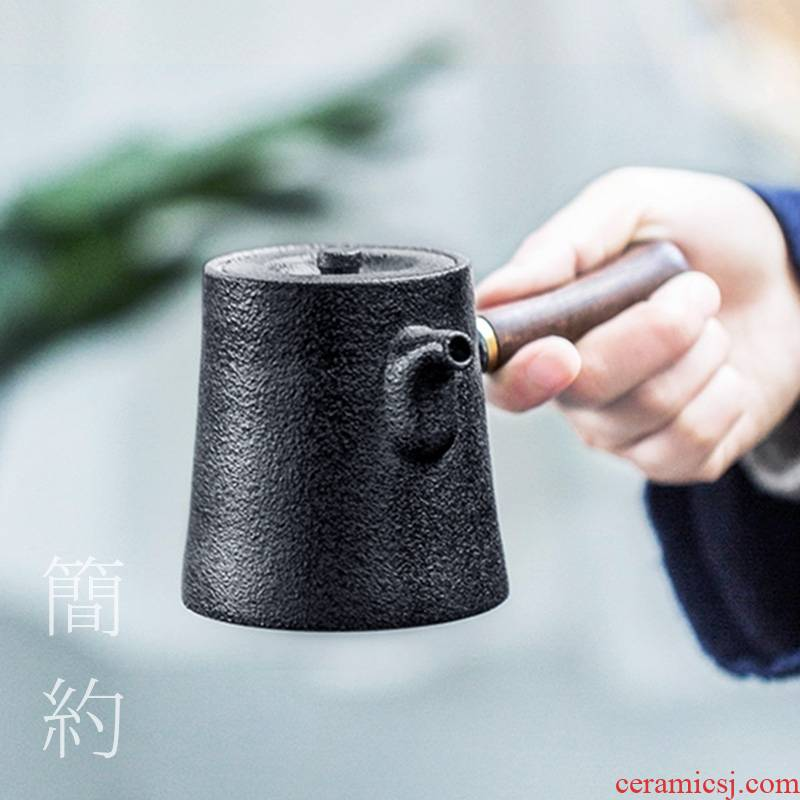 Qiao mu CZY teapot Japanese side of real wood, the pot of ceramic filter teapot tea coarse pottery pot of kung fu tea set