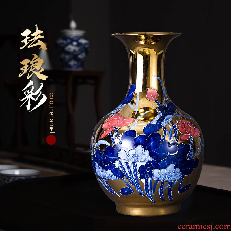 End of jingdezhen ceramic vase furnishing articles of Chinese style restoring ancient ways gold colored enamel years rich ancient frame than sitting room adornment