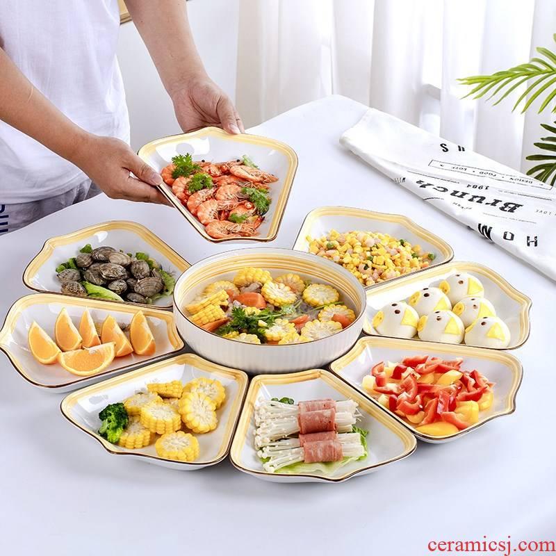 JingXiong web celebrity suit reunion platter tableware portfolio round ceramic dish dish plate creative household dish dishes