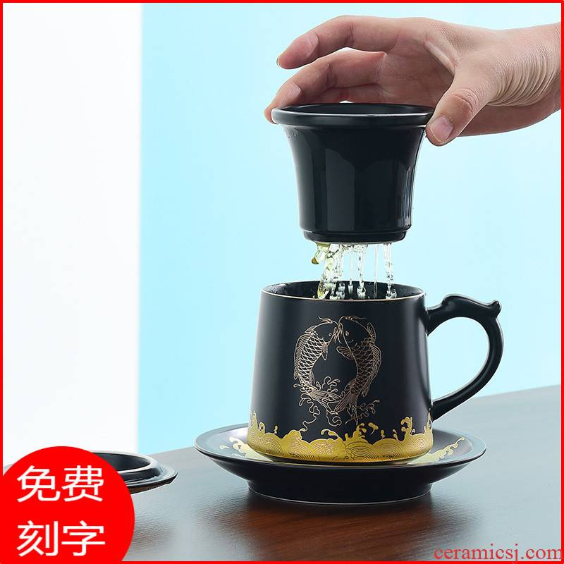 Glass ceramic Chinese wind high - grade Glass cup men 's boss office separation cup with handle tea tea cup