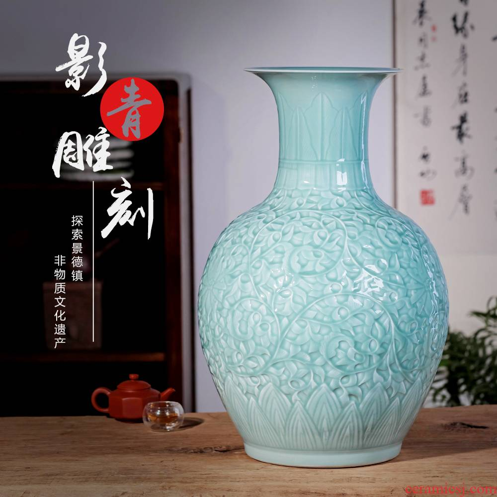 Jingdezhen ceramics ground shadow carving qdu vase Chinese style living room TV ark, furnishing articles home decoration