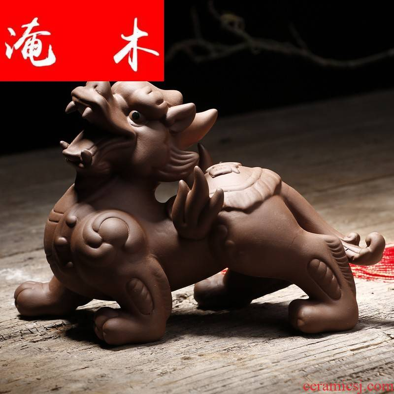 Flooded mu yi xin purple sand tea pet lucky town curtilage flying the mythical wild animal kunfu tea play home furnishing articles and tea accessories