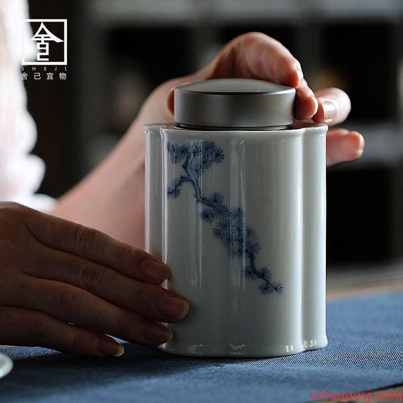 "The Self - ""seal Japanese tea pot, household ceramics tin deposit POTS of tea storage POTS under glaze color"