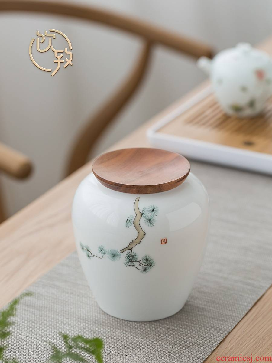 Ultimately responds to the ceramic tea canister large pot seal pot creative hand - made storage half jins receives domestic tea caddy fixings