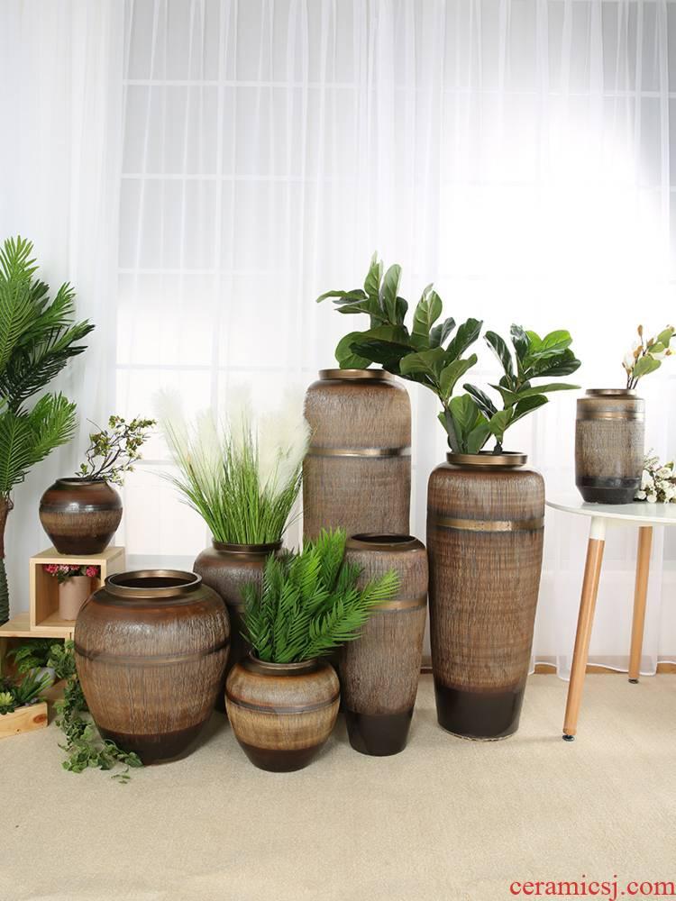 Jingdezhen ceramic vases, flower arranging hand - carved coarse pottery jar dried flowers floor do old archaize large flower pot