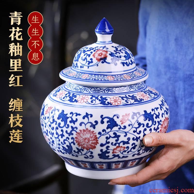 Jingdezhen blue and white snack jars with cover sealing ceramic tea pot home wake the receive small tea tea box of storage tank