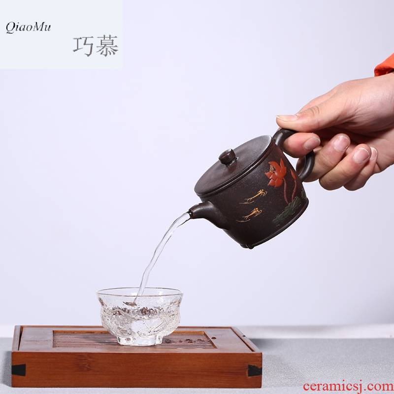 Qiao mu HM yixing undressed ore it all hand sand teapot tea house hidden black star han watt pot of new products