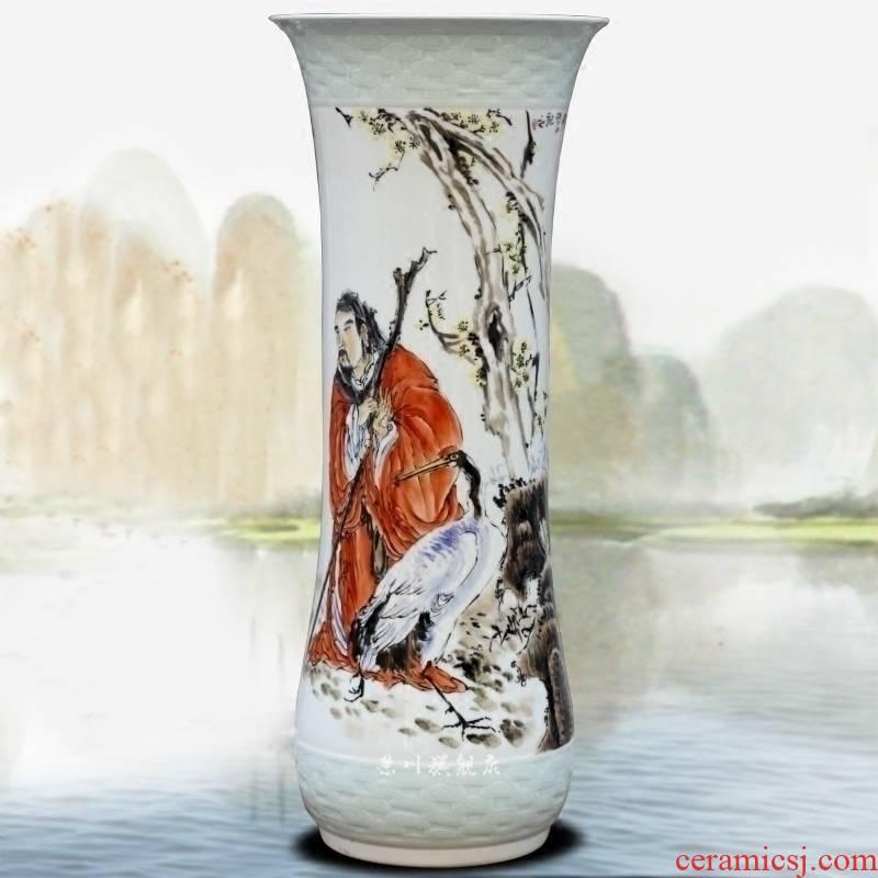 Jingdezhen ceramic hand - made Lao tze figure dry flower vase home sitting room place study mesa craft ornaments