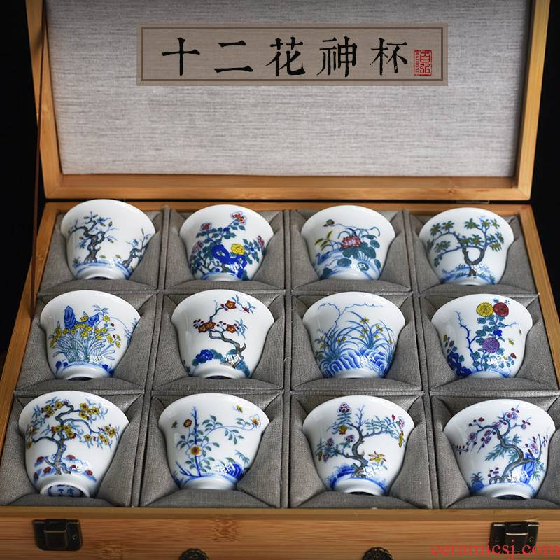 Hundred hong imitation of the qing emperor kangxi twelve flora cup suit of jingdezhen blue and white color sample tea cup tea hand - made teacup