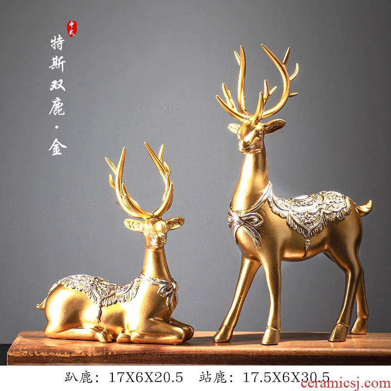 Ceramic vase deer furnishing articles embellish the sitting room decorated room of I and contracted creative home bookcase television wine