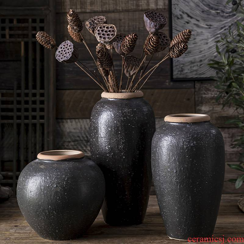 New Chinese style flower arranging dried flower ceramic floret bottle zen furnishing articles sitting room porch desk teahouse adornment clay coarse pottery