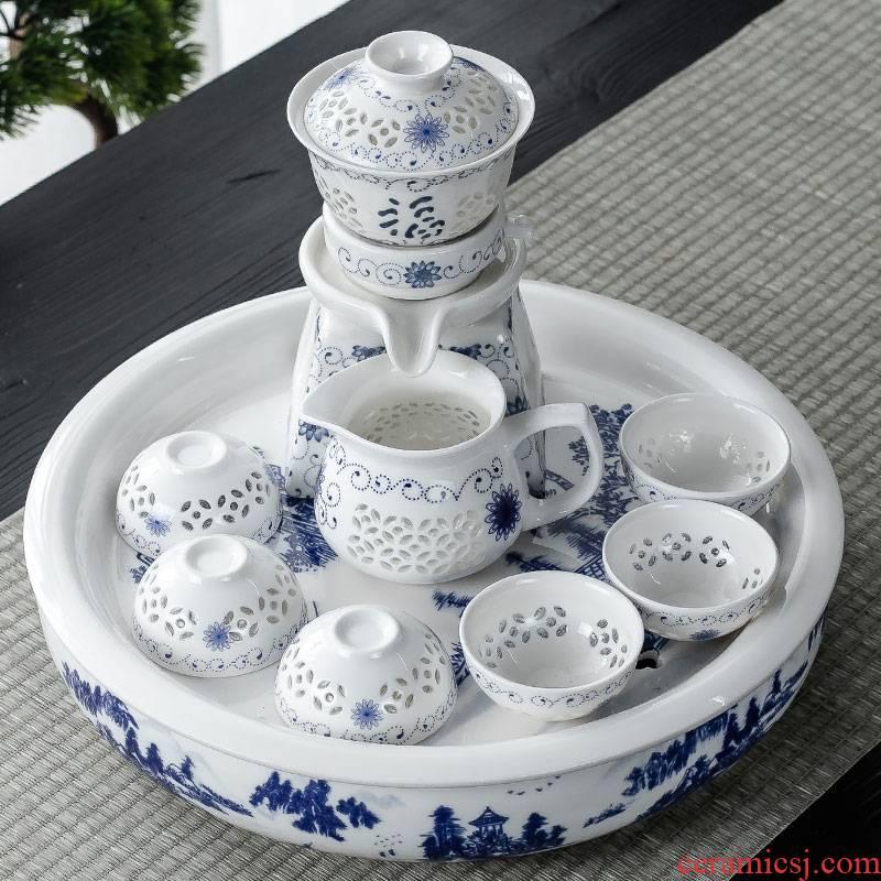Hui shi blue circular ceramic tea tray was suit dry terms automatic tea set household contracted tea tea L