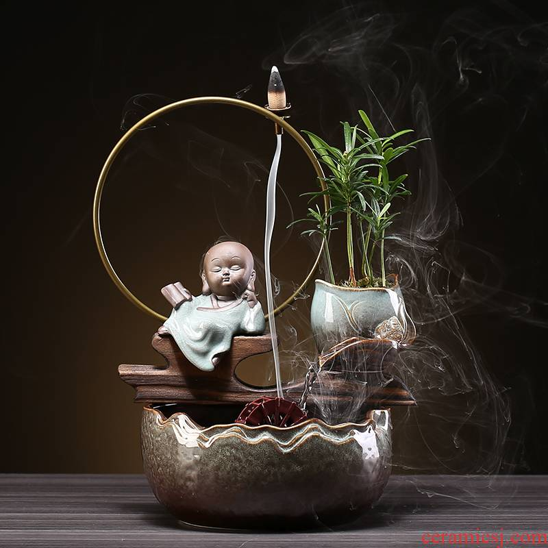 Creative fountain water machine ceramic furnishing articles feng shui plutus office desktop home sitting room porch opening gifts