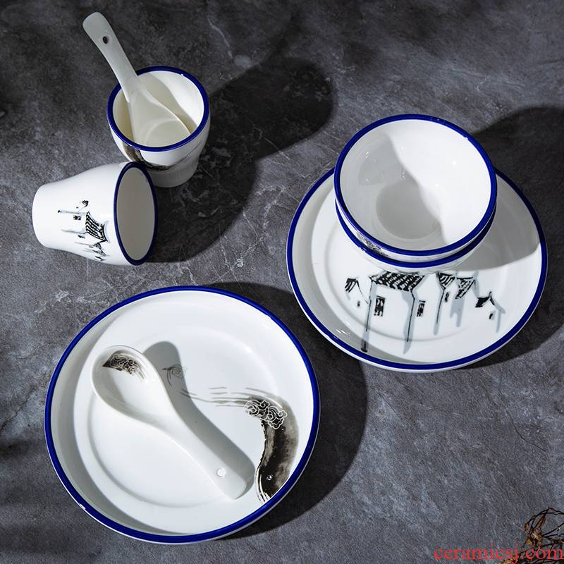 Hotel new Chinese style theme ceramic high - end table 4 times characteristics tableware suit custom lettering