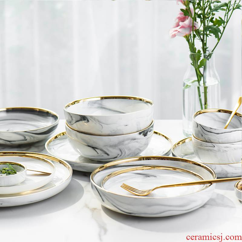 Ins European marble up phnom penh series ceramic tableware 0 rainbow such as bowl soup bowl dish dish the household rice bowls