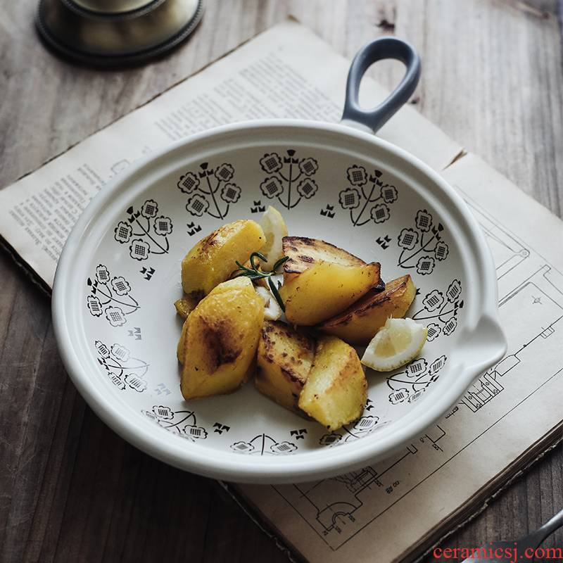 Japanese single handle ceramic pan pan baking oven flame dedicated multi - purpose shallow pot soup pot home pan frying pan