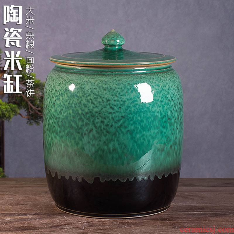 Jingdezhen ceramic barrel with cover home 20 jins 30 to rice box flour barrels of retro insect - resistant seal storage tank