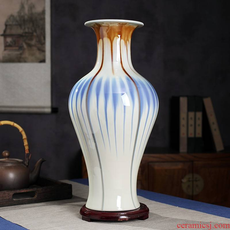Jingdezhen large jun porcelain vase hand - made ceramics from furnishing articles sitting room flower arranging new Chinese style household decorative arts and crafts