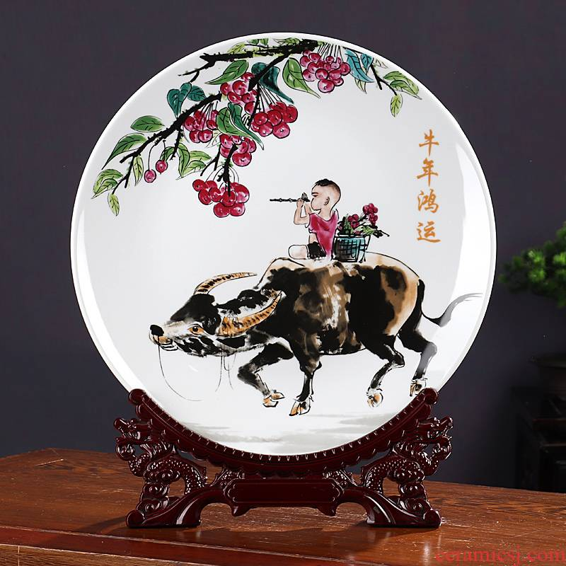 The New Chinese year of the ox sat dish ceramics furnishing articles rich ancient frame home decoration wine the opened a housewarming gift
