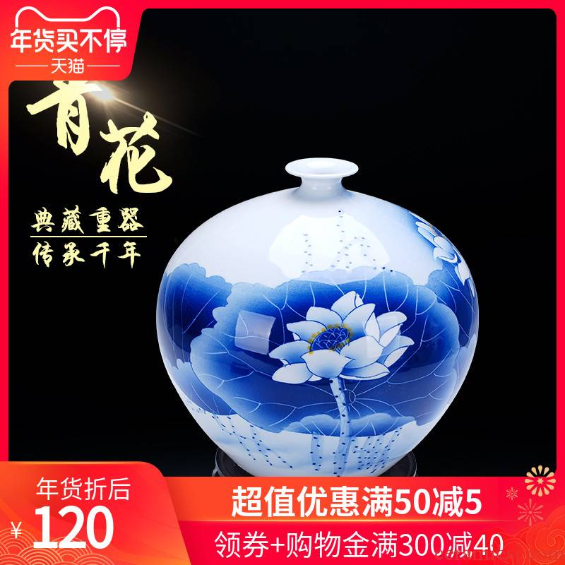 The 177 pomegranates on the jingdezhen ceramics famous Wu Wenhan hand - made of blue and white porcelain vase jade pool classical collection certificate
