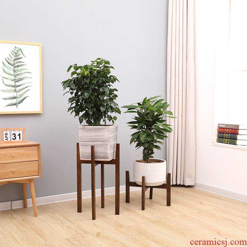 Nordic flower wearing real wood contracted land money plant pot sitting room balcony new specials flowerpot shelf base bracket