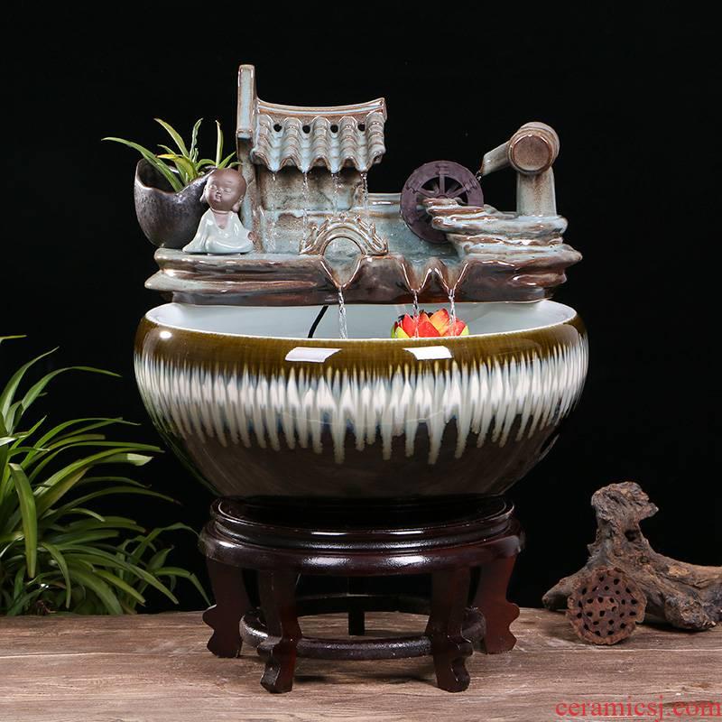 Creative ceramic goldfish bowl sitting room desktop small home furnishing articles circulating water fountain aquarium fish bowl