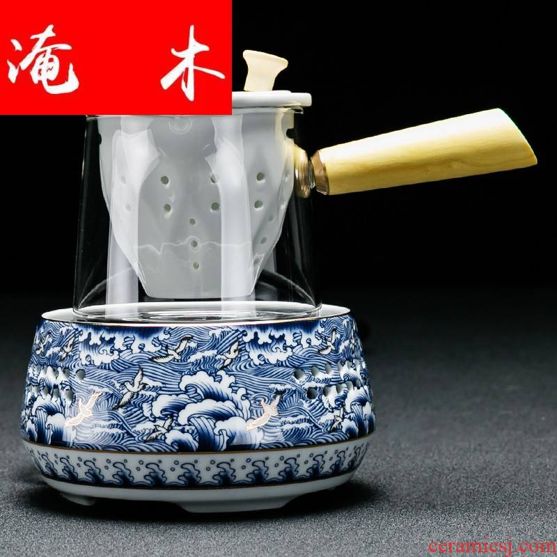 Flooded wood thickening heat - resistant glass teapot all electrical TaoLu side to boil tea pu - erh tea teapot with filtering flower pot