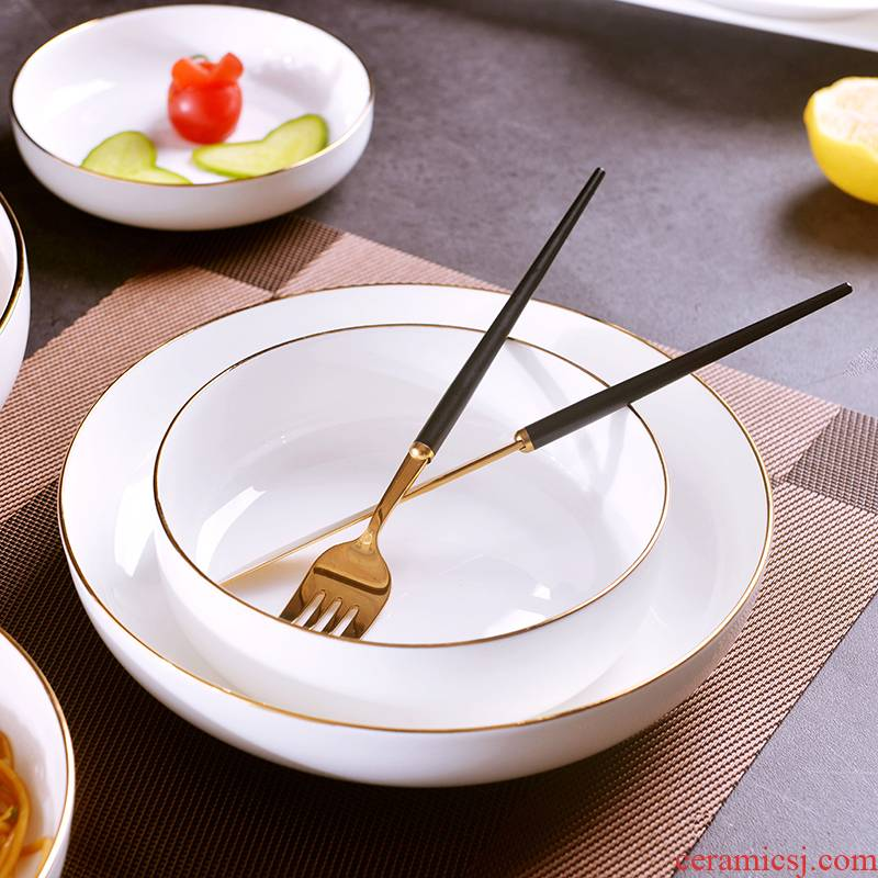 European - style checking gold 】 【 creative household up phnom penh dish ipads porcelain soup plate deep dish plate ceramic round plate