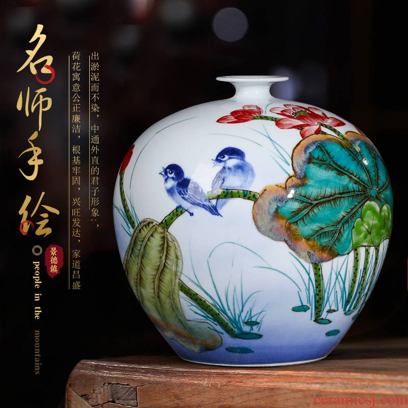 Jingdezhen ceramics famous hand - made vases furnishing articles living room flower arranging Chinese wine home decoration