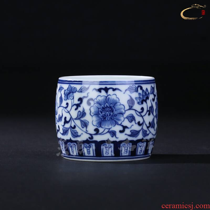 Jingdezhen and cheung kung fu tea set blue tie up branch flowers cup single cup pure manual master cup sample tea cup