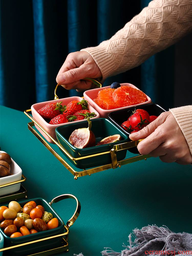 Ceramic dry compote of fruit candy box snack plate 'lads' Mags' including nuts, household Nordic contracted creative household in the living room