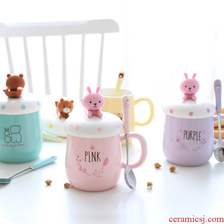 South Korean pottery cup girl lovely rabbit of cartoon mark cup with cover household teaspoons of creative picking male water cup