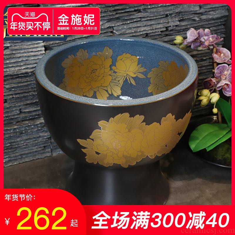 Gold cellnique wash mop pool bathroom balcony ground ceramic POTS mop pool small round kitchen sink mop pool