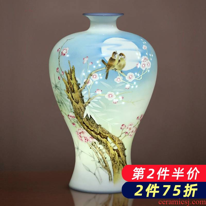 Jingdezhen ceramics hand - made eggshell porcelain and exquisite knife clay vases, new Chinese style living room home furnishing articles