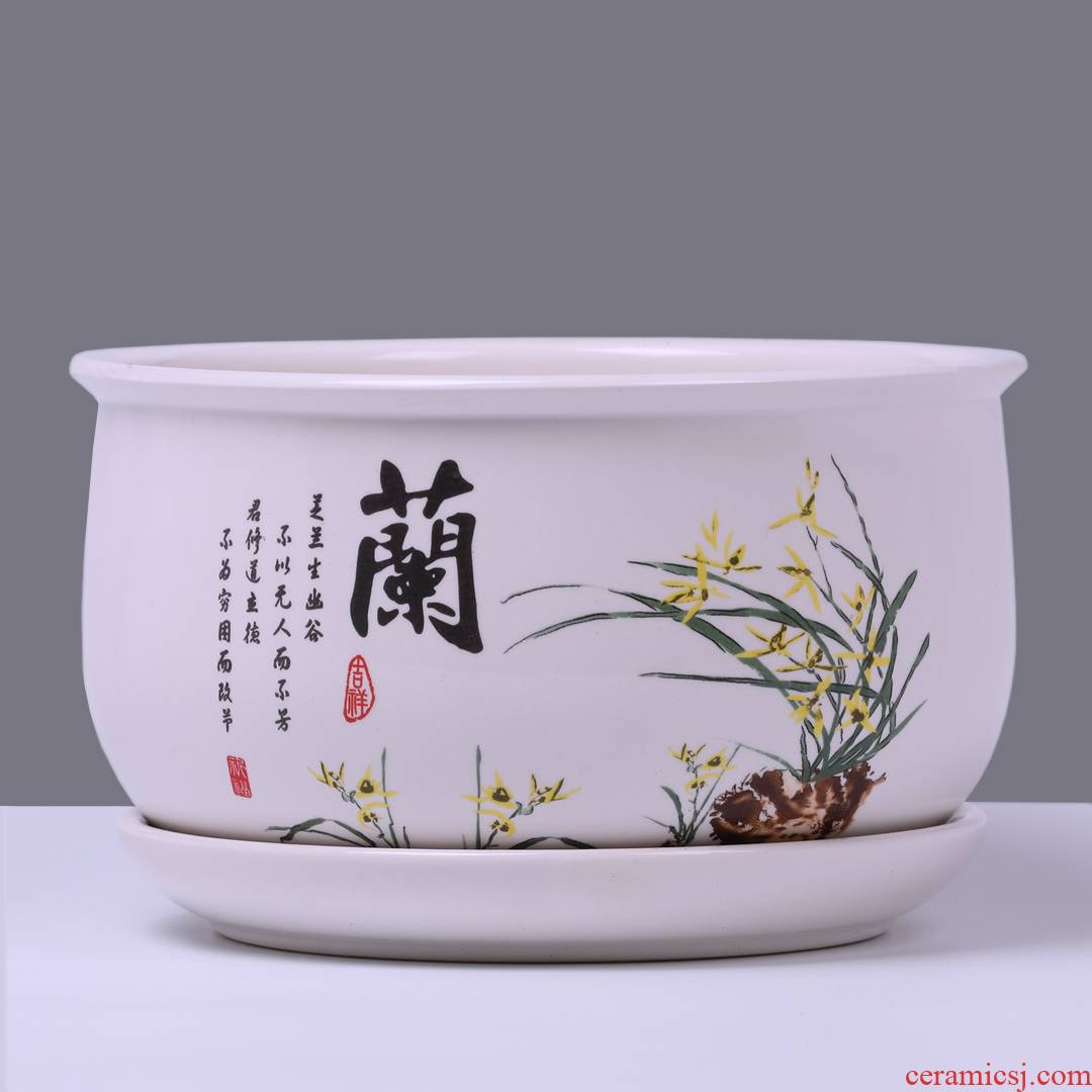 With a special offer a clearance flowerpot ceramic oversized tray hole more than other meat flower of bracketplant of the green plant household food bowl