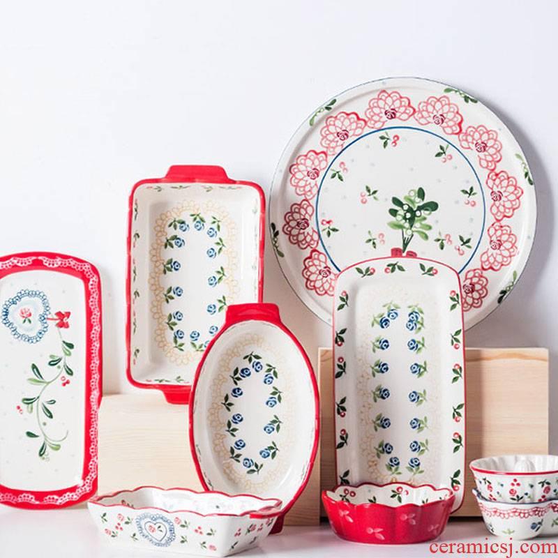 Japanese tableware cherry creative ceramic bowl of soup bowl noodles fruit snack bowl dish dish dish dish
