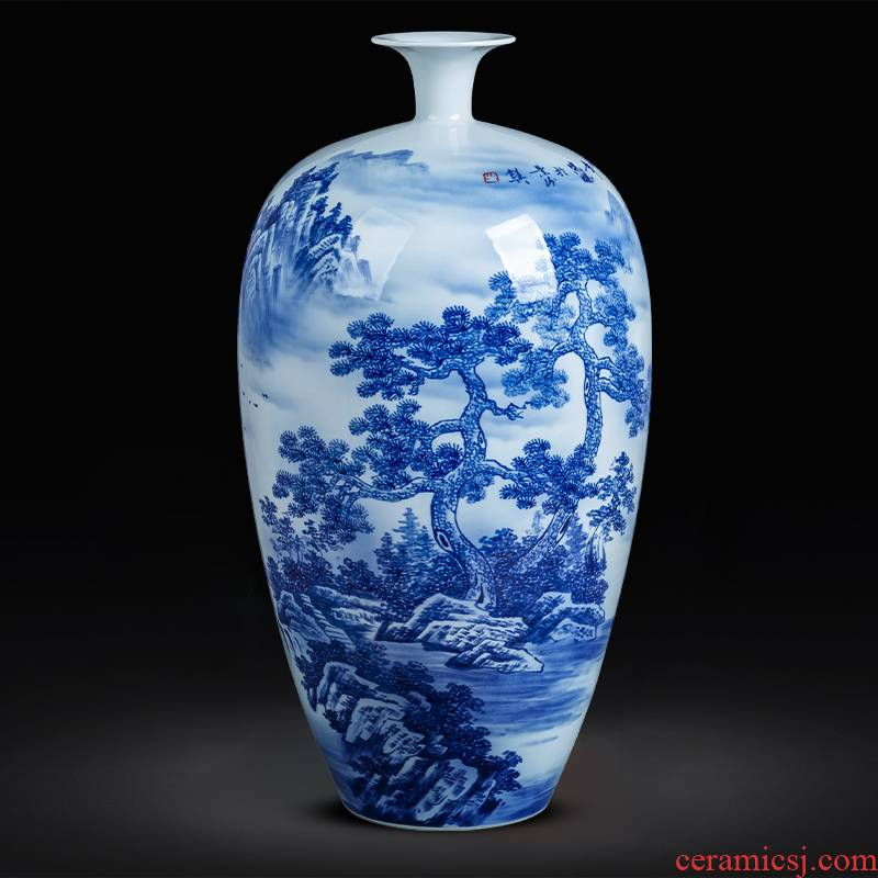 Jingdezhen ceramics hand - made landscape painting bottle of blue and white porcelain vase large living room a study Chinese style decorates the furnishing articles