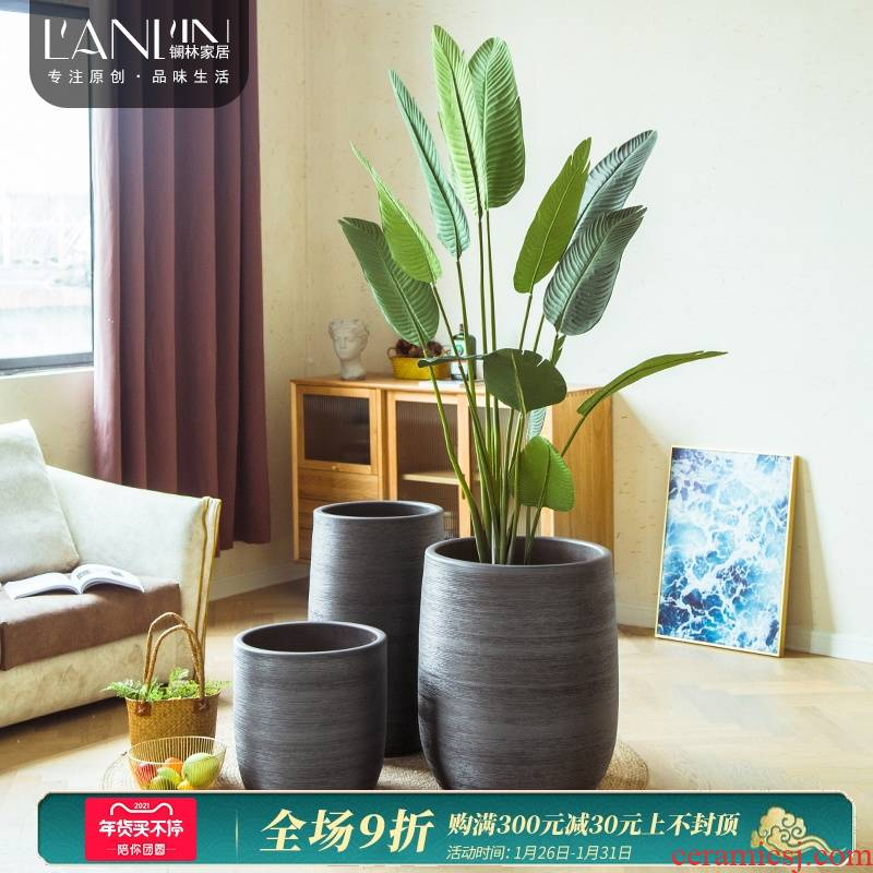 Nordic I and contracted large diameter black ceramic flower POTS indoors sitting room hotel green plant of large vase arranging flowers