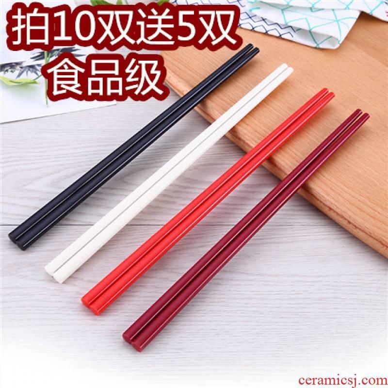 The Japanese kitchen high - grade melamine imitation porcelain hotel restaurants and colorful plastic chopsticks tachyon household antiskid 10 pairs of family