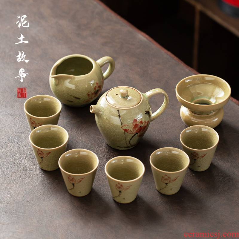 Jingdezhen ice to crack the up household kung fu tea set of suit tureen ceramic office of a complete set of contracted tea cup