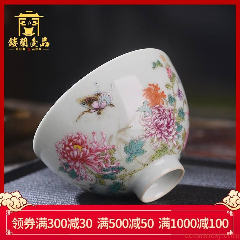 Jingdezhen ceramic all hand - made pastel recent master cup heart cup kung fu tea cup sample tea cup tea cups