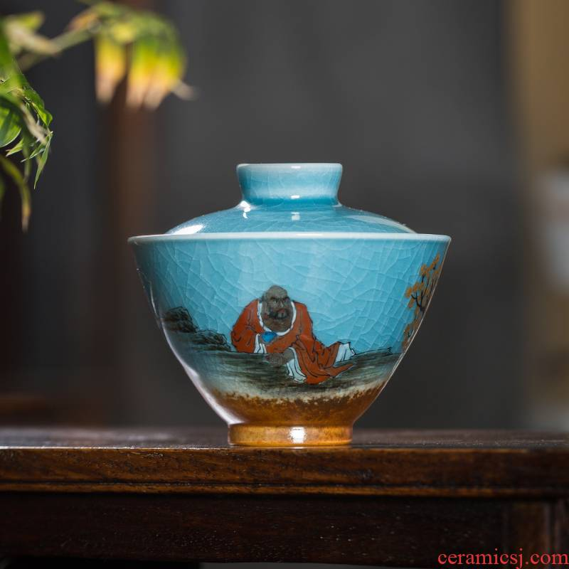 Open the slice owl chai up up with jingdezhen tea sets variable glaze tureen between two cover cup checking ceramic tea cup