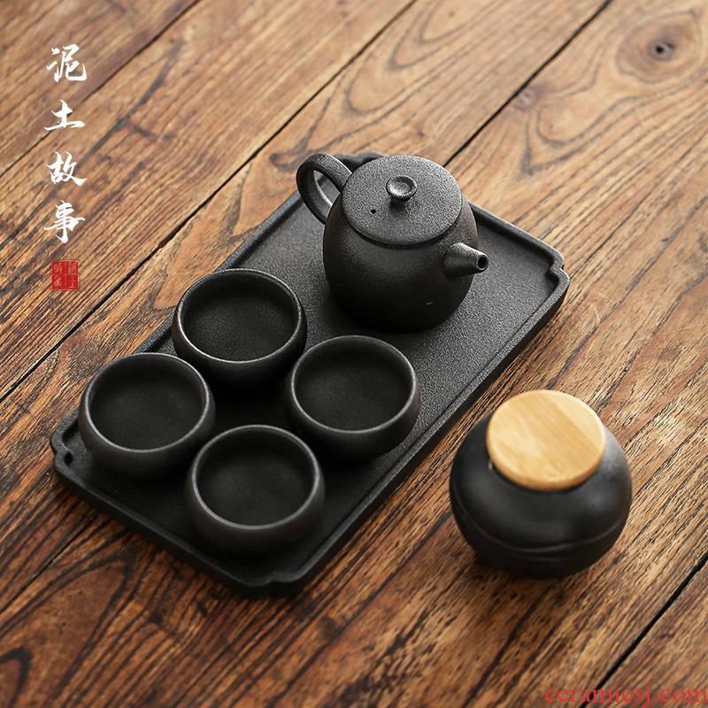 Simple black pottery kung fu tea set tea of a complete set of household ceramic teapot teacup dry tea tray box type