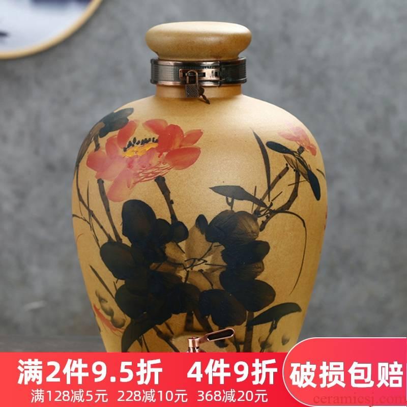 Jingdezhen ceramic jar hand - made mercifully jars brew cylinder grinding glaze 10 jins 20 jins 50 kg bottle wine pot